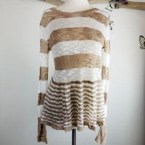 C. wonder S striped open knit peplum sweater